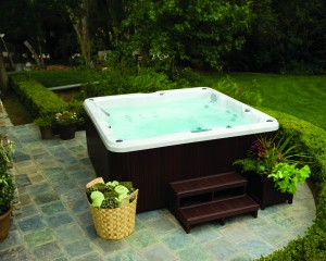 Backyard hot tub installation.