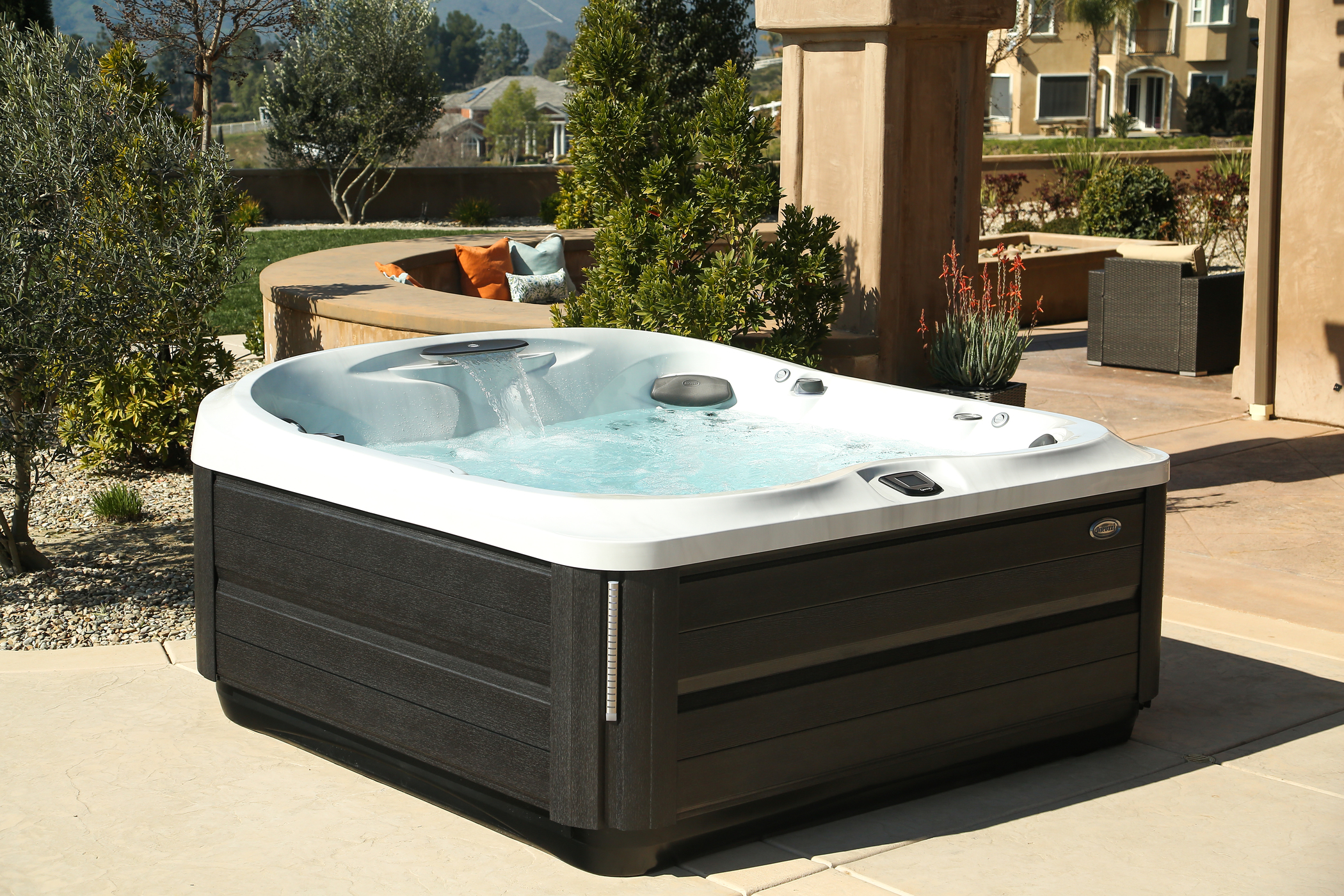 Outdoor Jacuzzi Hot Tub installation.