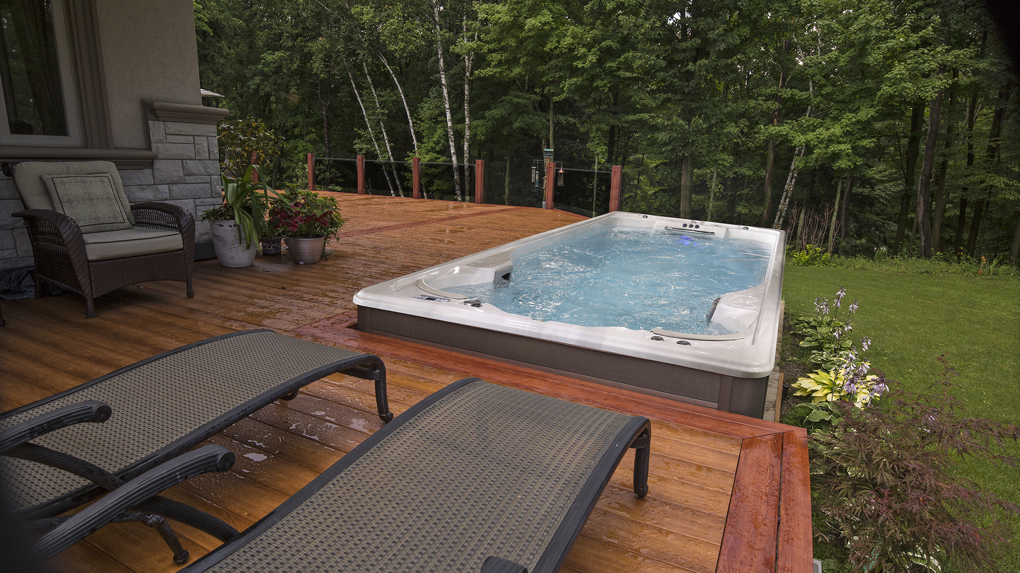 Outdoor swim spa installation.